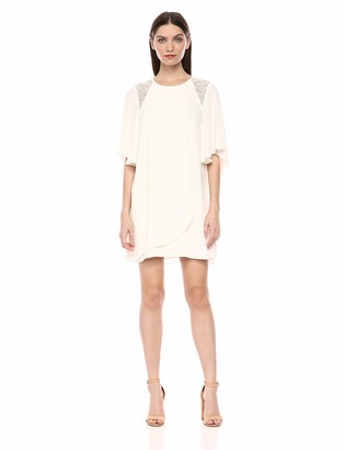Halston Women's Flowy Short Sleeve High Neck Dress with Lace