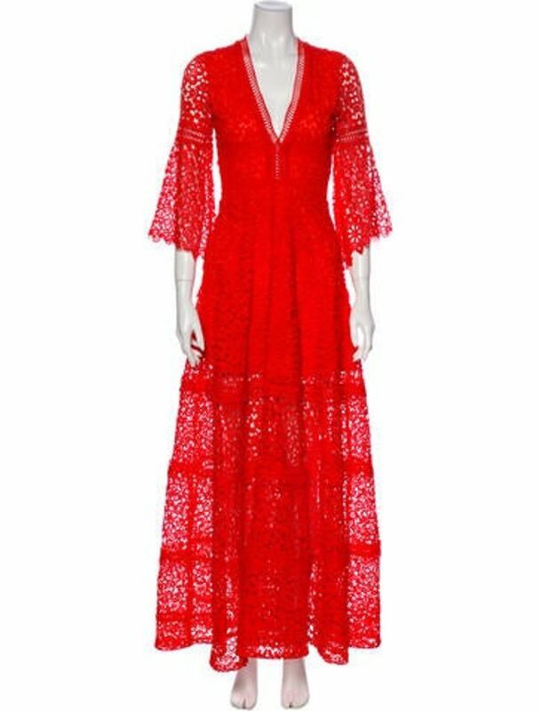 Alexis Lace Pattern Long Dress Orange