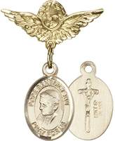 Bonyak Jewelry Saint Medal Collection Gold Filled Baby Badge with Pope Benedict XVI Charm and Angel w/Wings Badge Pin 1 X 3/4 inches