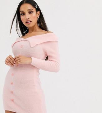 Asos DESIGN Petite fluffy bardot knit mini dress