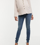 Asos DESIGN Maternity Tall Ridley high waisted skinny jeans in extreme dark stonewash blue with under the bump waistband