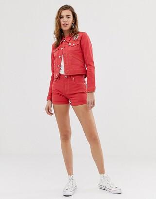 Pepe Jeans Betties red denim shorts