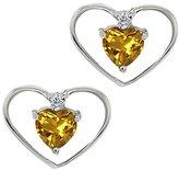 Gem Stone King 0.45 Ct Heart Shape Yellow Citrine and Diamond 14k White Gold Earrings