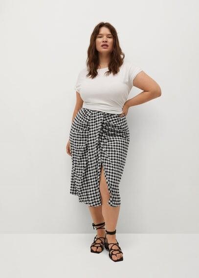 MANGO Recycled polyester gathered skirt