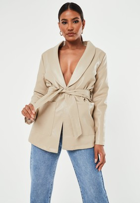 Missguided Stone Faux Leather Borg Lined Jacket