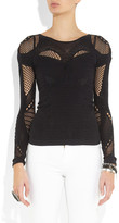 McQ by Alexander McQueen Open-knit paneled stretch top