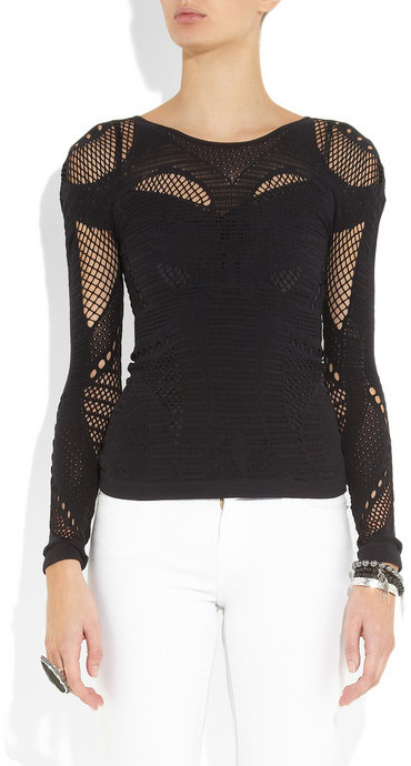 McQ Open-knit paneled stretch top