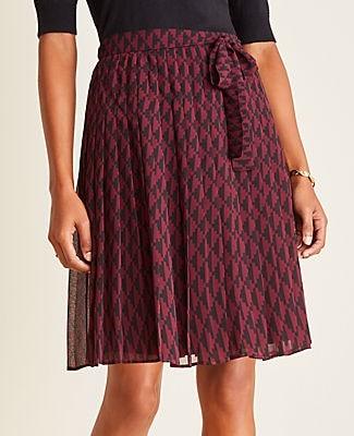 Ann Taylor Petite Geo Tie Waist Pleated Skirt