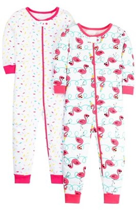 Little Star Organic 100% organic cotton footless stretchies pajamas, 2-pack (baby girls and toddler girls)