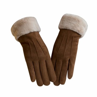 Runxinqing Women Gloves Winter Warm Knit Gloves Ladies Thick Anti-Slip Gloves Thermal Gloves for Outdoor Cycling Running Hunting Climbing Sport Christmas Birthday Gift For Ladies (Khaki)