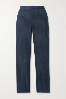 L'Agence Sawyer Cropped Pinstriped Herringbone Woven Slim-leg Pants - Navy