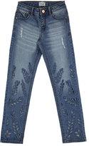 Mayoral Eyelet Leaf Faded Slim-Fit Stretch Jeans, Blue, Size 8-16