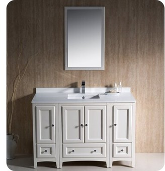 "Oxford 48"" Single Bathroom Vanity Set with Mirror Fresca Base Finish: Antique White"