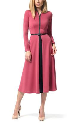 LADA LUCCI Women's Career Dresses Milling - Milling Zip-Up Long-Sleeve A-Line Dress - Women & Plus