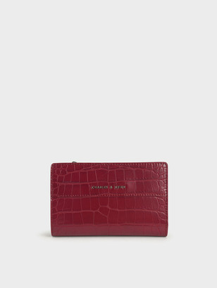 Charles & Keith Croc-Effect Snap Button Wallet