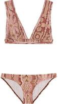 Zimmermann Realm Paisley-print Triangle Bikini - Burgundy