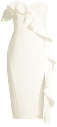 Aidan Mattox Crepe One-Shoulder Ruffle Sheath Dress