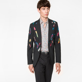 Paul Smith Men's Tailored-Fit Black Embroidered 'Feather' Stretch-Wool Blazer