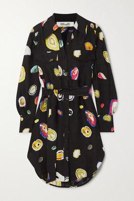 Diane von Furstenberg Peyton Printed Silk-blend Jacquard Shirt - Black