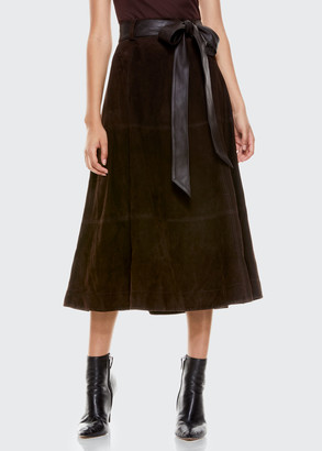Alice + Olivia Martine Suede Midi Skirt w/ Belt