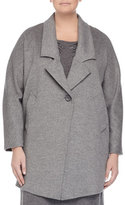 Marina Rinaldi Nobile Wool One-Button Jacket, Gray, Plus Size
