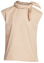 Givenchy Twisted Tie-Neck Cotton Poplin Shell