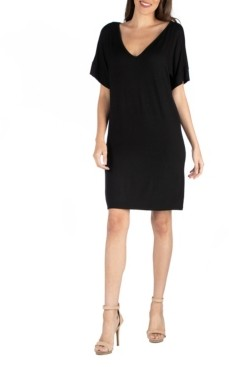 24seven Comfort Apparel Loose Fit T-Shirt Dress with V-Neck