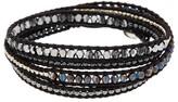 Chan Luu Silver Plated Hematite & Swarovski Crystal Wrap Bracelet