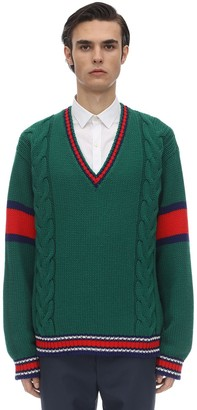 Gucci Wool V Neck Knit Sweater