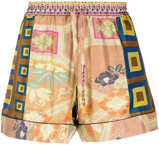 Pierre Louis Mascia Aloe patchwork-print silk shorts
