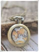 sea-maiden World Map Pocket Watch Necklace, Antique Map Necklace, Globe Necklace