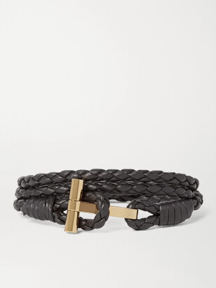 Tom Ford Woven Leather and Gold-Plated Wrap Bracelet - Men - Brown