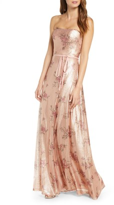 Marchesa Strapless Print Sequin A-Line Gown