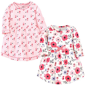 Touched By Nature Touched by Nature Girls' Casual Dresses Coral - Coral & White Floral Garden Organic Cotton Long-Sleeve Dress Set - Newborn & Infant