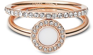 Fossil Rose-Goldtone Stone Glitz Stackable Women's Ring w/Strass and Glass Stone