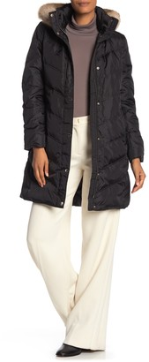 MICHAEL Michael Kors Missy 3/4 Down Faux Fur Trim Jacket