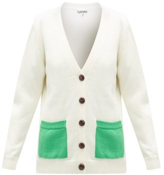 Ganni Patch-pocket V-neck Merino-wool Cardigan - Cream
