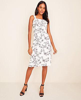 Ann Taylor Floral Cotton Linen Sheath Dress