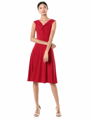 Gabby Skye Women's Cap Sleeve V-Neck Off The Shoulder Fit and Flare Dress
