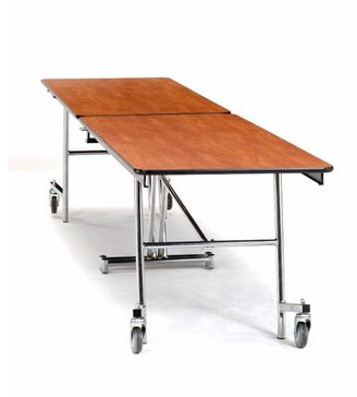 Rectangular Cafeteria Table National Public Seating Frame Finish: Chrome, Tabletop Color: Fusion Maple, Size: 10' L x 2.5' W