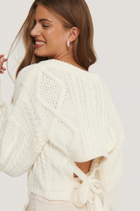NA-KD Back Knot Detail Cable Knit Sweater