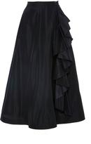 Tome Black Taffeta A-Line Skirt with Ruffles
