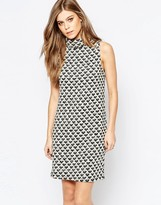 Vila Printed High Neck Sleevless Shift Dress