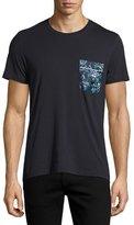 Burberry Floral-Print Pocket T-Shirt, Navy