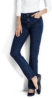 Lands' End Women's Petite Mid Rise Slim Jeans-Medium Indigo Dot