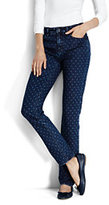 Lands' End Women's Tall Mid Rise Slim Jeans-Medium Indigo Dot