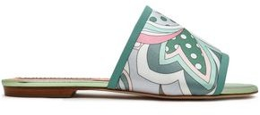 Emilio Pucci Leather-trimmed Printed Cotton-blend Sateen Slides