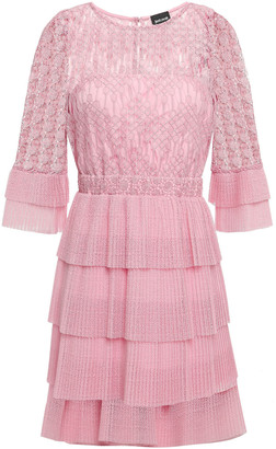 Just Cavalli Tiered Macrame Lace And Crochet-knit Mini Dress