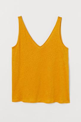H&M H&M+ Linen Jersey Tank Top - Yellow