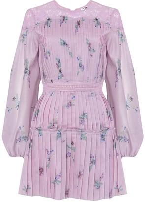 True Decadence Lilac Watercolour Floral Organza Pleated Mini Dress